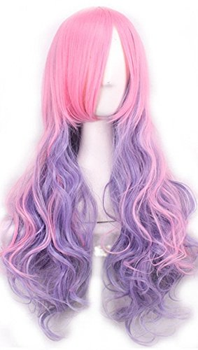 Women's Pink Ombre Cosplay Wig and A Wig Cap, Long Curly Hair Heat Resistant Fiber Wigs Harajuku Lolita Sweet Style for Mermaid/Unicorn Costume- QHQ-ShiningLife (Mermaid Wig)