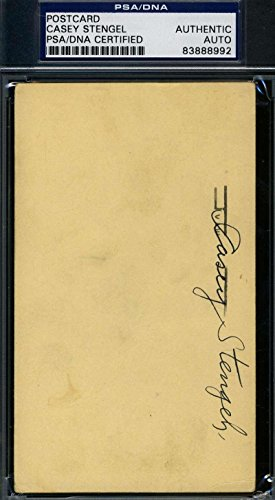 Casey Stengel 1951 Signed Gpc Government Postcard Authentic Autograph - PSA/DNA Certified - MLB Cut Signatures