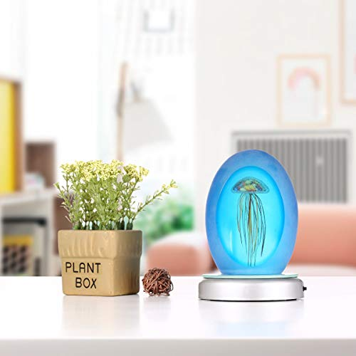 ZAMTAC Home Decoration Blue Jellyfish with Light Base US Plug Glow in The Dark Glass Sculpture Glass Paperweight Hand Blown Glass Art