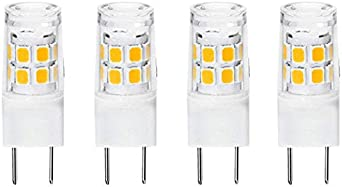 30W Halogen Bulb Replacement,for Under Cabinet Kitchen Lighting Daylight White6000K GE Microwave Lamp Bulb Replacement,4-Pack G8 LED Bulb,GY8.6//T4 Bi-pin Base LED 3W Under-Cabinet Light