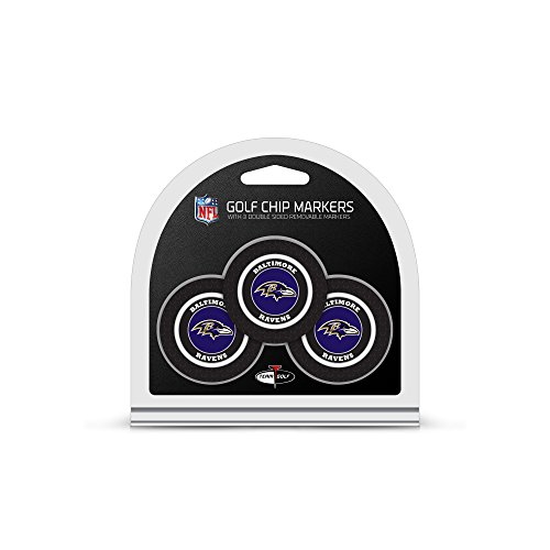 Team Golf NFL Baltimore Ravens Golf Chip Ball Markers (3 Count), Poker Chip Size with Pop Out Smaller Double-Sided Enamel Markers
