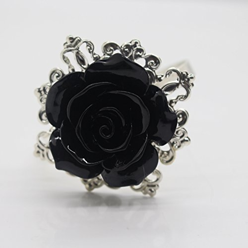 AngHui ShiPin 10pcs Black Rose Decorative Silver Napkin Ring Serviette Holder for Wedding Party Dinner Table Decor Many Color Available for Christmas Table by AngHui (Image #1)