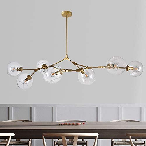 LUOLAX Modern Pendant Light Glass Chandelier with 7 Lights Fixture Hanging Flush Mount 7 Heads Gold-Clear