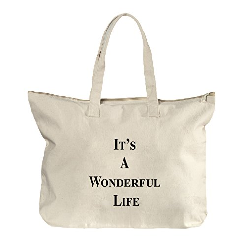 It'S A Wonderful Life Canvas Beach Zipper Tote Bag Tote