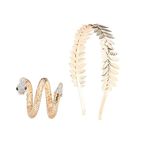 Bridal Hair Crown Head and Snake Arm Cuff Costume Dress Accessory Set,Roman Goddess Leaf Branch Dainty Crown and Egypt Cleopatra Swirl Bracelet (Gold)]()