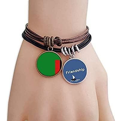 YMNW Zambia National Flag Africa Country Friendship Bracelet Leather Rope Wristband Couple Set Estimated Price -