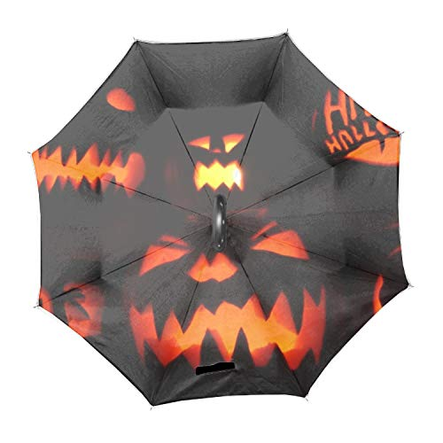 Halloween Pumpkins Reverse/Inverted Double-Layer Waterproof Straight Umbrella Inside-Out for Car Use