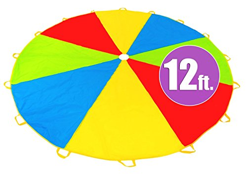 12 Foot Play Parachute with 16 Handles New & Improved Design Multicolored Parachute for Kids