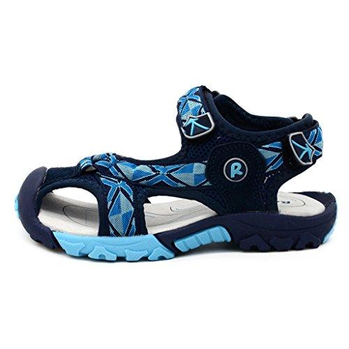 Bwiv sandalias velcro para niño con plantillas forradas de piel sandalias de playa duraderas de las tallas 24,5-38 EU Azul oscuro