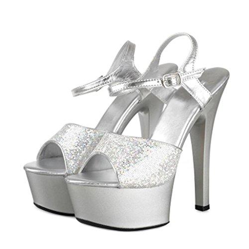 15cm épais Chaussures à pour Talons LLP Femmes Imperméable Haut Talons Sandales Forme Plate Modèle Silver Hauts Chaussures Talon qFSwa8
