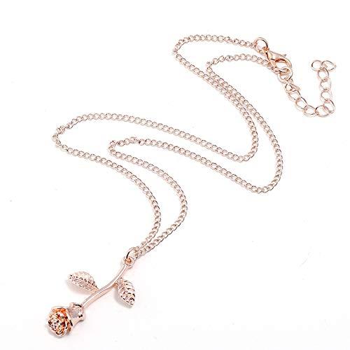 1 UNIDS Vintage 3D Rose Collar Flor Colgante Collar Cadena Amantes Cumplea/ños Amistad Joyer/ía Regalo de la joyer/ía CTGVH Collar de Colgantes de Rosa