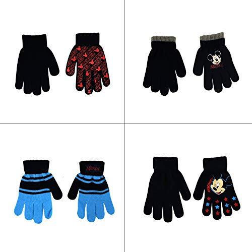 Disney Assorted Designs 4 Pair Gloves or Mittens Cold Weather Set, Little Boys, Age 2-7 ((B) Mickey Mouse 4 Pair Gloves Set Ages 4-7)