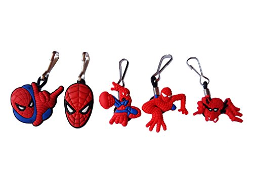 AVIRGO 5 pcs Zipper Pull Charms for Jacket Backpack Bag Pendant Set # 121 - (Mysterio Spiderman Costume)