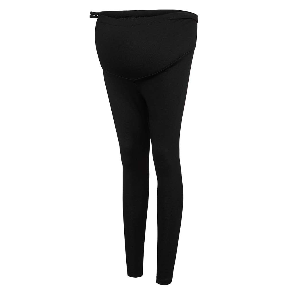 4Clovers Womens Pregnant Stretchy Leggings High Waist Yoga Pants Tummy Control Maternity Trousers