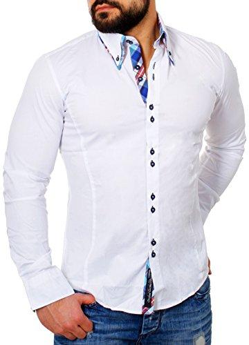 Carisma Herren Kontrast Manschetten Hemd Casual Freizeit Party Club SlimFit tailliert figurbetont langarm Männer Shirt Blau (H-110) M