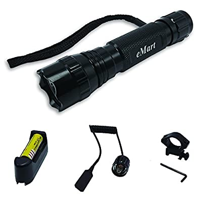 Tipmant WF-501B XM-L T6 1000 Lumens Riding Bicycle Bike Hunting LED Flashlight Torch Tactical Lamp + Gun Mount + Remote Pressure Switch + 1 x 18650 Rechargeable Battery + Battery Charger by Yingmate