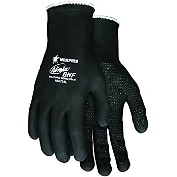 MCR Safety N96795M Ninja BNF Nitrile Gloves, ANSI Puncture 2, Abrasion 5, 15 Gauge Nylon/Spandex Shell with Full BNF Coating and Nitrile Grip Dots, 1-Pair, Medium