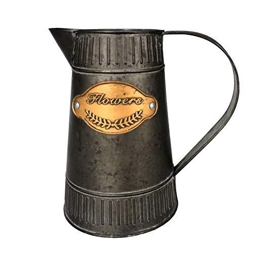 - APSOONSELL French Style Vintage Metal Pitcher Flower Vase,Primitive Farmhouse Vase for Home Decor,7.1