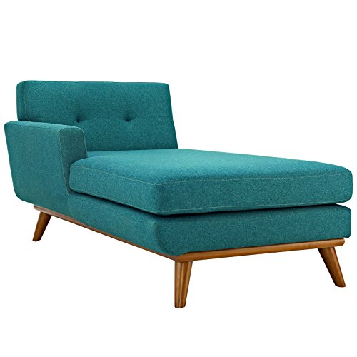 Modway Engage Mid-Century Modern Upholstered Fabric Left-Arm Chaise In Teal