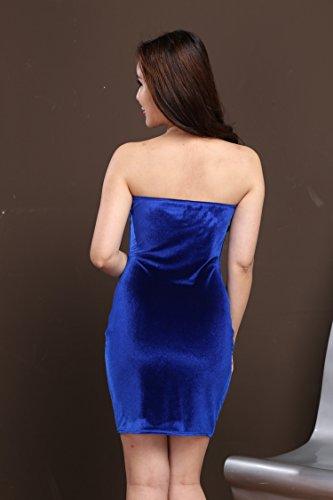 Di Bodycon Blansdi Donne Mini Senza Tubo Blu Fuori Spalline Spalla Elegante Abito Velluto Partito Cocktail 7SFw1