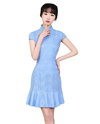 Robe Slim Femme Coton Qipao Chinoise Bleu Acvip Cheongsam Dentelle En 54Fwa