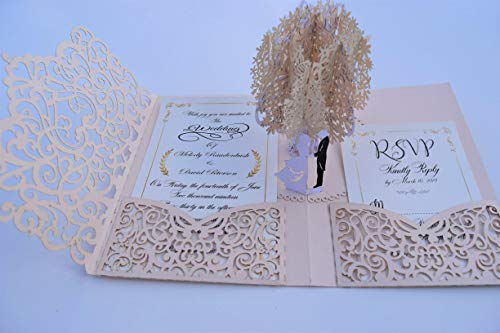 Pop up Wedding Invitation Pocket-Folds with Envelope. Memorable, Unique and Elegant Laser Cut 3D Design by Tada Cards. Perfect for Wedding Thank You Cards (Rose Gold Tree 10-Pack)