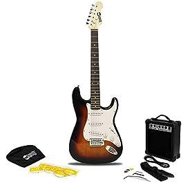 RockJam RJEG02 6 String Electric Guitar Beginner Kit with 10-Watt Amp, Gig Bag & Accessories-Sunburst, Right, (RJEG02-SK…