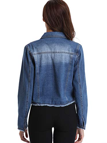 Moly Collar Button Long Outwear Down Pockets Elegant Jean Denim Blue Turn Jacket Womens Casual Down Miss Coat Deep Sleeves dY6q0d