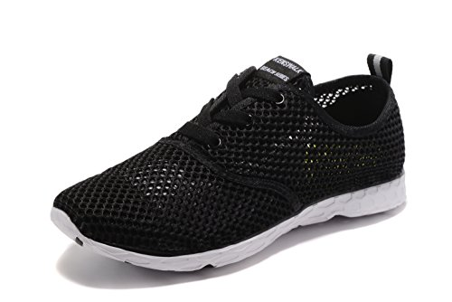 Kenswalk Men's Aqua Water Shoes Lightweight Quick Drying Beach Shoes(US 12,Black and White Men 2017)