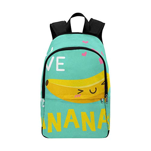 InterestPrint Cute Banana Cartoon You Drive Me Bananas Casual Teens School Backpack