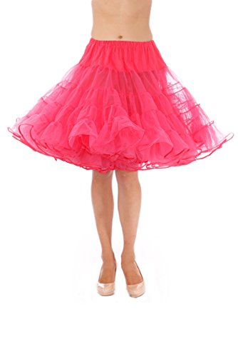 (Madeline Knee Length Petticoat - Very Full Skirted Dance Petticoat for Serious Skirt Volume Vintage Clothing and Rockabilly Raspberry)