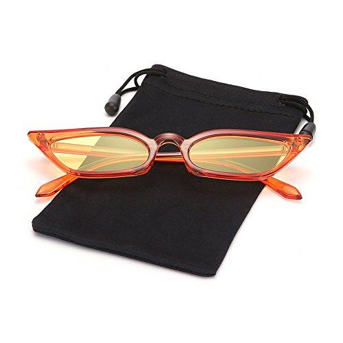 Retro Vintage Women Slim Cateye Flat Sunglasses Tinted Lens Shades LOOKEYE, Mandarin Frame and Yellow ()