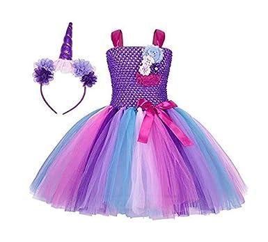af11772c829f 3-12 Y Flower Girls Unicorn Tutu Dress Pastel Rainbow Princess Girls  Birthday Party Dress