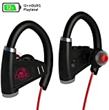 [NEWEST 2018] Bluetooth Headphones w/ 12+ Hours Battery - Best Wireless Sport Earphones, Mic - IPX7 Waterproof Music In-Ear Earbuds for Gym, Running, Workout for Men, Women