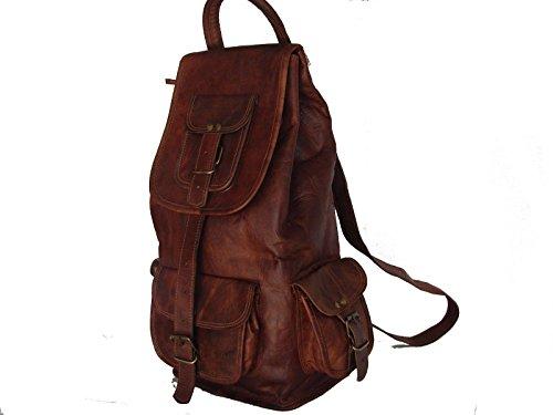 Valentine Geschenk von VH 50,8 cm handgefertigt echtes Leder Rucksack College Tasche Reise Tasche Laptop Tasche für Verkauf dunkelbraun)