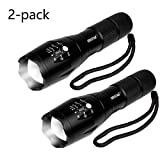 ODISTAR 2 Pack Super Bright 1000 lumen Flashligh,Portable Tactical LED Flashlight with 5 Modes Adjustable, IP65 Waterproof for Outdoor Camping,Hiking,bicycling.The size of a pocket of gifts for kids