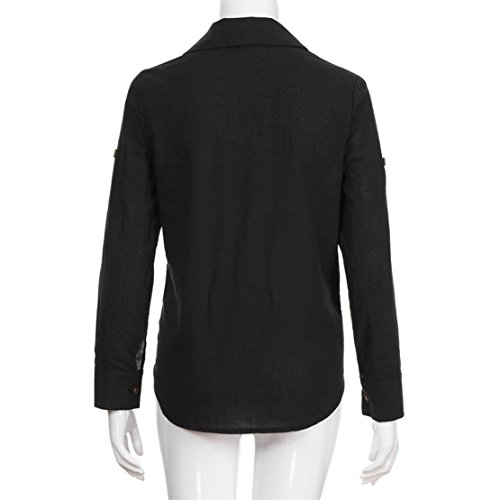 Nero Tinta Donna Casual Camicia Unita Blusa Bluestercool Manica Lunga Sz8nWnY