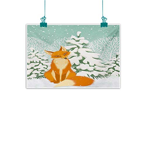 - Warm Family Fox Modern Frameless Painting Red Fox Sitting in Winter Forest Snow Covered Pine Trees Xmas Cartoon Bedroom Bedside Painting 24