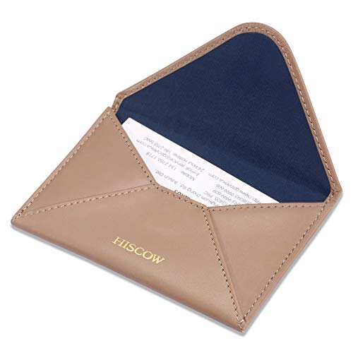 (HISCOW Envelope Business Card Case with Magnet Closure - Italian Calfskin (Apricot))