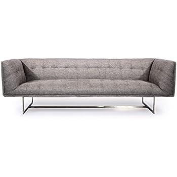 Kardiel Edward Mid-Century Modern Classic Sofa, Deco Grey Vintage Tailored Twill, Stainless Steel