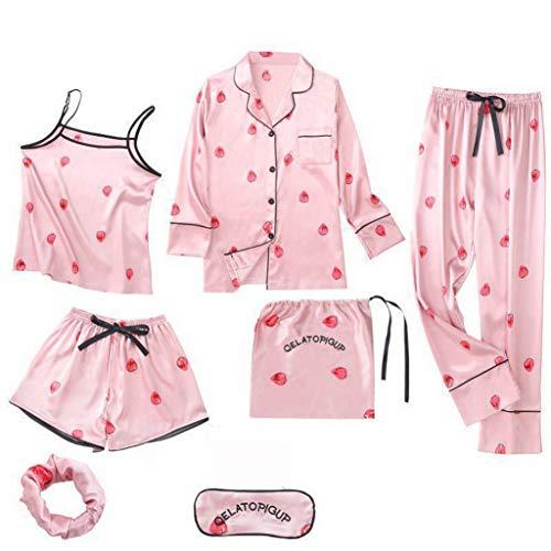 - Soft Pink Ladies 4PCS Home Wear Strawberry Sweet Pajama Set Ice Silk Pyjamas Casual Sleepwear Suit(Pink,M)