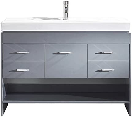 Virtu USA MD-423-C-GR-001 Gloria 48 Double Bathroom Vanity in Grey with White Ceramic Top and Square Sink with Brushed Nickel Faucet and Mirror, 48 inches, Cool Gray