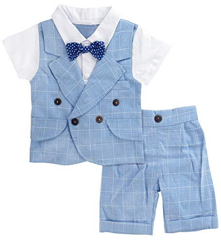 A&J DESIGN Baby Boys' Gentleman Outfit Shorts Set (18-24 Months, Blue Plaid)
