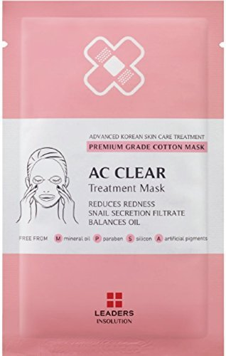 [LEADERS] AC Clear Treatment Mask / Premium Grade Cotton Mask / Reduces Redness - Snail Secretion Filtrate - Balances Oil / 10 Sheet Masks