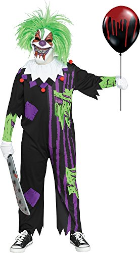 Fun World Demented Clown Costume, Large 12-14, Multicolor -