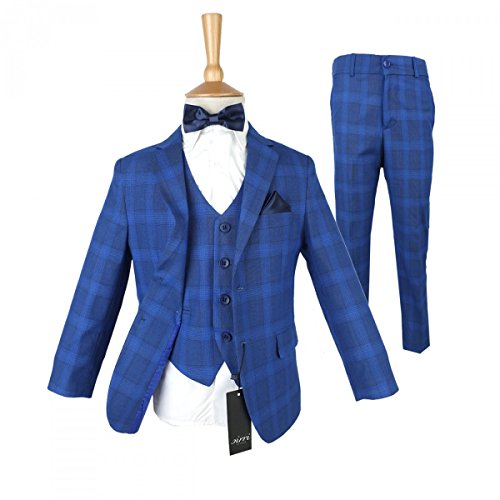Boys Check Blue Suit Buy in 3 or 5 Pieces (Dress Suit Blue 3 Piece)