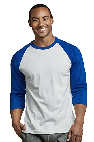 (TOP PRO Men's 3/4 Sleeve Casual Raglan Jersey Baseball Tee Shirt (XL, RBL/WHT))
