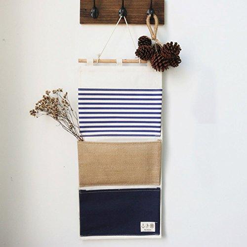 Yiuswoy Grosse Kapazitaet Streifen Spleissen 3 Taschen Wandorganizer Haengeorganizer Tuer Haengeaufbewahrung Aufbewahrung Haengend Fuer Wand - Blau
