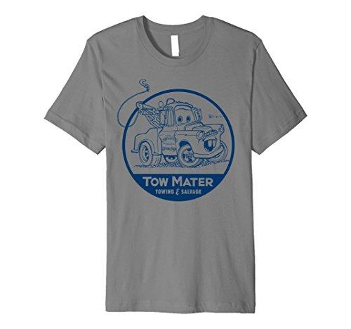 Mens Disney Pixar Cars Tow Mater Salvage Badge Premium T-Shirt XL - Shirt T Slate