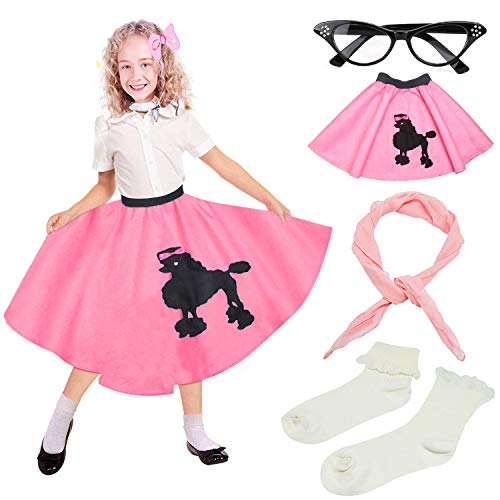 Beelittle 50s Girls Costume Accessories Set - Vintage Felt Poodle Skirt, Chiffon Scarf, Cat Eye Glasses, Bobby Socks (High Waist Pink) ()